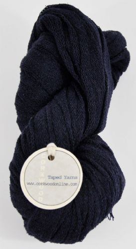 100g navy blue silk mix blue Ultra wide 3/4 inch chunky tape tubular yarn